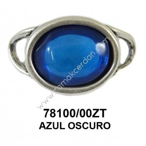 ENTREPIEZA ESLABON OVALADO CON CRISTAL AZUL OSCURO
