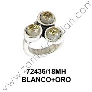 ANILLO 3 RESINAS REDONDAS BLANCO+ORO